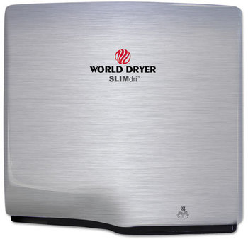 Picture of item WRL-L973A a WORLD DRYER® SlimDri Hand Dryer. Brushed Stainless Steel.