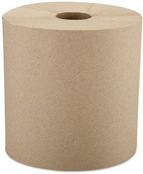 "Windsoft® Nonperforated Roll Towels,  8"" x 800ft, Brown, 6 Rolls/Carton"