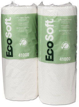 Picture of item 875-801 a EcoSoft® Household Roll Towels. 11 X 9 in sheets. White. 2700 sheets.