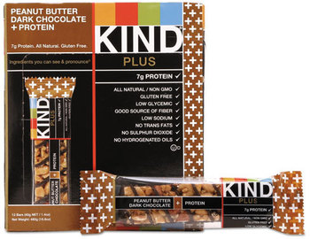 Picture of item KND-17256 a KIND Plus Nutrition Boost Bars,  Peanut Butter Dark Chocolate/Protein, 1.4 oz, 12/Box