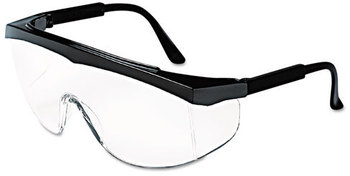 Picture of item CRW-SS110 a Crews® Stratos® SS1 Series Safety Glasses. Black Frame with Clear Lens.