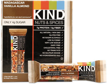 Picture of item KND-17850 a KIND Nuts and Spices Bar,  Madagascar Vanilla Almond, 1.4 oz, 12/Box