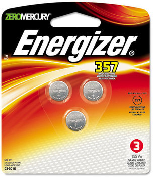 Energizer® Mercury-Free Watch/Electronic/Specialty Battery,  SilvOx, 357, 1.5V, MercFree, 3/Pk
