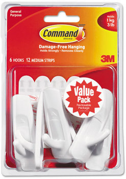 Picture of item MMM-17001VP6 a Command™ General Purpose Hooks,  Medium, 3lb Cap, White, 6 Hooks & 12 Strips/Pack