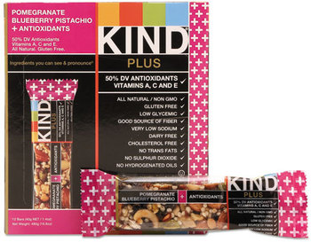 Picture of item KND-17221 a KIND Plus Nutrition Boost Bars,  Pom. Blueberry Pistachio/Antioxidants, 1.4 oz, 12/Box
