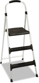 "Cosco® Signature Aluminum Step Stool,  3-Step, 225lb, 28 29/64"" Working Height, Platinum/Black"
