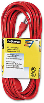 Picture of item FEL-99597 a Fellowes® Indoor/Outdoor Heavy-Duty Extension Cord,  1-Outlet, 25ft, Orange