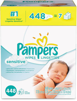 Pampers® Sensitive Baby Wipes,  White, Cotton, Unscented, 448/Carton