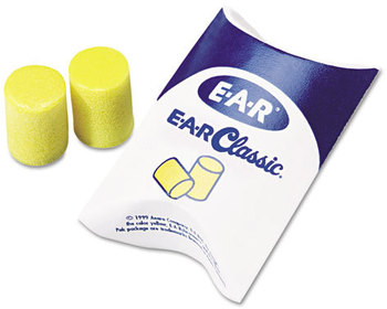 Picture of item MMM-3101001 a 3M E·A·R™ Classic™ Earplugs,  Pillow Paks, Uncorded, PVC Foam, Yellow, 200 Pairs