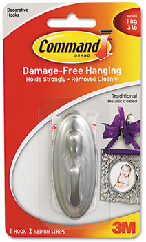 Picture of item MMM-17051BN a Command™ Decorative Hooks,  Traditional, Medium, 1 Hook & 2 Strips/Pack
