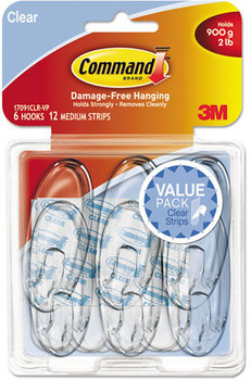 Picture of item MMM-17091CLRVP a Command™ Clear Hooks and Strips,  Plastic, Medium, 6 Hooks & 12 Strips/Pack