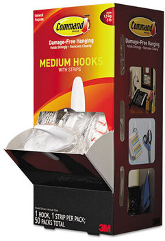 Picture of item MMM-17081CABPK a Command™ General Purpose Hooks,  Designer, 3lbs Capacity, White, 50/Carton