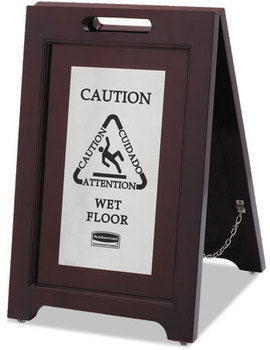 Rubbermaid® Commercial Executive 2-Sided Multi-Lingual Wooden Caution Sign,  Brown/Stainless Steel,15 x 23 1/2