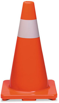 Picture of item TCO-25500 a Tatco Traffic Cone,  18h x 10w x 10d, Orange/Silver