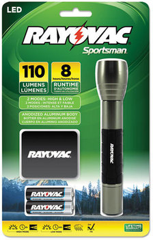 Rayovac® Sportsman Flashlight,  Holster, Machined Aluminum/Metallic Sage, 2 AA Batteries