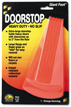 Master Caster® Giant Foot® Doorstop,  No-Slip Rubber Wedge, 3-1/2w x 6-3/4d x 2h, Safety Orange