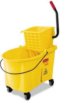 Picture of item RCP-618688YW a Rubbermaid® Commercial WaveBrake® Bucket/Wringer Combos,  Yellow