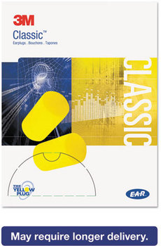 Picture of item MMM-3101103 a 3M E·A·R™ Classic™ Small Earplugs in Pillow Paks,  PVC Foam, Yellow, 200 Pairs