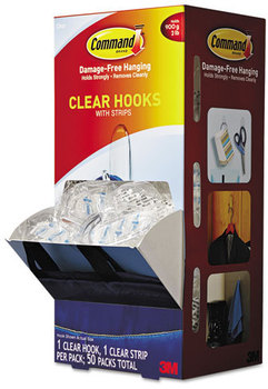 Picture of item MMM-17091CLRCABP a Command™ Clear Hooks and Strips,  Plastic, Medium, 50 Hooks w/50 Adhesive Strips per Carton