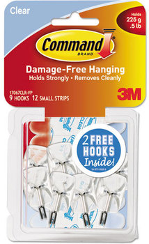 Picture of item MMM-17067CLRVP a Command™ Clear Hooks and Strips,  Plastic/Wire, Small, 9 Hooks w/12 Adhesive Strips per Pack