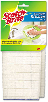 Scotch-Brite™ Microfiber Kitchen Cloth, White, 2/Pack, 12 Packs/Case.