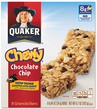 Picture of item QKR-11827 a Quaker® Granola Bars,  Chewy Chocolate Chip, .84 oz Bar, 8/Box
