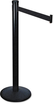 "Picture of item TCO-11711 a Tatco Adjusta-Tape Crowd Control Posts and Bases,  Steel, 14"" deep, Black, 2/Box"