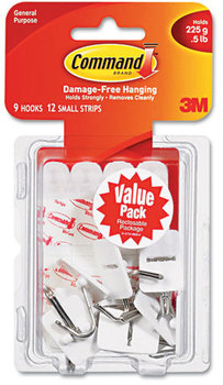 Picture of item MMM-17067VP a Command™ General Purpose Hooks,  Small, Holds 1lb, White, 9 Hooks & 12 Strips/Pack