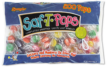Picture of item SPA-182 a Spangler® Saf-T-Pops,  Assorted Flavors, Individually Wrapped, 200/Pack