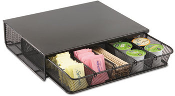 Safco® Onyx™ One Drawer Hospitality Organizer,  5 Compartments, 12 1/2 x 11 1/4 x 3 1/4, Bk