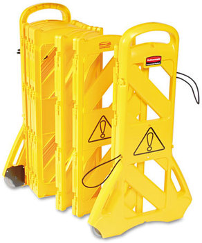 "Picture of item RCP-9S1100YEL a Rubbermaid® Commercial Portable Mobile Safety Barrier,  Plastic, 13ft x 40"", Yellow"