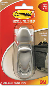 Picture of item MMM-FC13BN a Command™ Metal Hooks,  Large, Brushed Nickel Finish, 1 Hook & 2 Strips/Pack