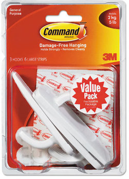 Picture of item MMM-17003VP3 a Command™ General Purpose Hooks,  Large, 5lb Cap, White, 3 Hooks & 6 Strips/Pack