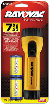 Rayovac® Industrial Tough Flashlight,  2 D Batteries, Yellow/Black