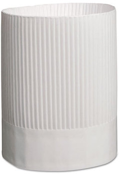 Picture of item RPP-SCH9 a Royal Fluted Adjustable Paper Chef's Hats. 9 in. Tall. White. 12 count.