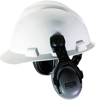 Picture of item MSA-10061272 a MSA HPE Cap-Mounted Earmuffs,  27NRR, Gray/Black