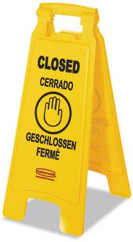"Rubbermaid® Commercial Multilingual ""Closed"" Folding Floor Sign,  2-Sided, Plastic, 11w x 1.5d x 26h, Yellow"