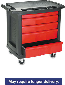 Rubbermaid® Commercial Five-Drawer Mobile Workcenter,  32 1/2w x 20d x 33 1/2h, Black Plastic Top