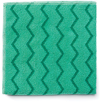 "Picture of item 968-676 a Rubbermaid HYGEN™ Microfiber General Purpose Cloth. Green. 16"" x 16"". Durable up to 500 launderings. Bleach safe. 12/cs."