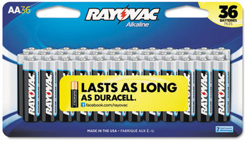 Rayovac® Alkaline Peggable Large Card Batteries,  AA, Peggable Large Card, 36/Pk