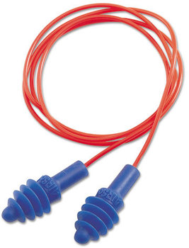 Picture of item UVX-DPAS30R a Howard Leight® by Honeywell AirSoft® Multiple-Use Earplugs,  27NRR, Red Polycord, Blue, 100/Box