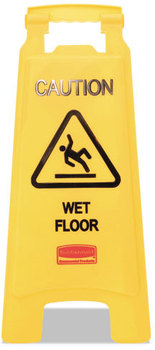 "Rubbermaid® Commercial ""Caution Wet Floor"" Floor Sign, Plastic, 11 x 1 1/2 x 26, Bright Yellow"