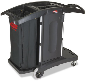 Picture of item RCP-9T76 a Rubbermaid® Commercial Compact Folding Housekeeping Cart,  22w x 51 3/4d x 44h, Black