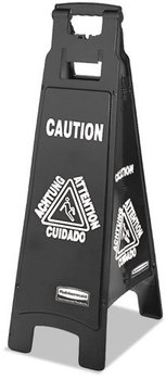 Rubbermaid® Commercial Executive 4-Sided Multi-Lingual Caution Sign,  Black/White, 11 9/10 x 38