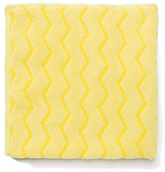 "Picture of item 968-677 a Rubbermaid HYGEN™ Microfiber Bathroom Cloth. Yellow. 16"" x 16"". Durable up to 500 launderings. Bleach safe. 12/cs."