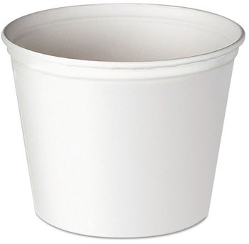 SOLO® Cup Company Double Wrapped Paper Buckets,  Unwaxed, White, 53 oz, 50/Pack