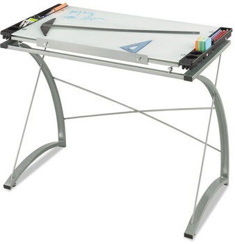 Picture of item SAF-3966TG a Safco® Xpressions™ Glass Top Drafting Table,  41w x 24d x 31 1/2 to 40h, Silver