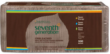 Seventh Generation® 100% Recycled Napkins,  1-Ply, 12 x 12, Unbleached, 500/Pack