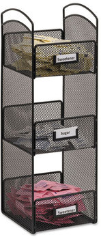Picture of item SAF-3290BL a Safco® Onyx™ Breakroom Organizers,  3 Compartments, 6 x 6 x 18, Steel Mesh, Black