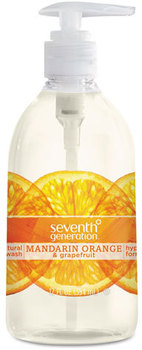 Seventh Generation® Natural Hand Wash,  Mandarin Orange & Grapefruit, 12 oz Pump Bottle, 8/Carton